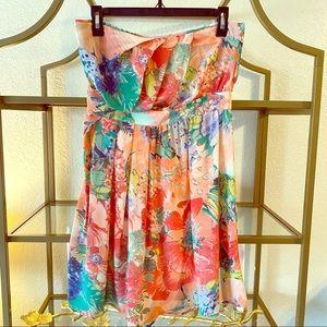 5️⃣/$2️⃣5️⃣Warehouse silk strapless mini dress
